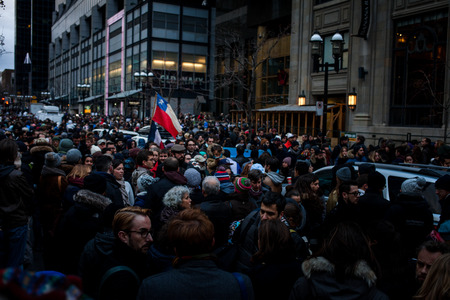 consulate: November 14th 2015, Montreal Canada. People Grouping in front of the France consulate in memory of the Jihadists ISIS Terrorist Raid in Paris