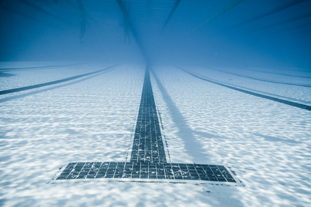 start to cross: Underwater View of a Black Line Starts and Corridor of an 50m Pool Stock Photo
