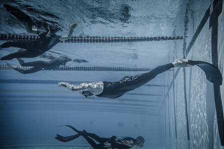 Montreal, CANADA - May 30th, 2015. Official AIDA Freediving Pool Competition Taking place in the Parc Jean-Drapeau Olympic Pool. Dynamic With Fins (DYN) Performance from Underwater