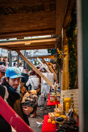 fifty something: Longueuil, CANADA - December 22nd 2015. Christmas Market Taking Place in a Park. More than Fifty Vendors Present. Consumers Looking for something to buy.