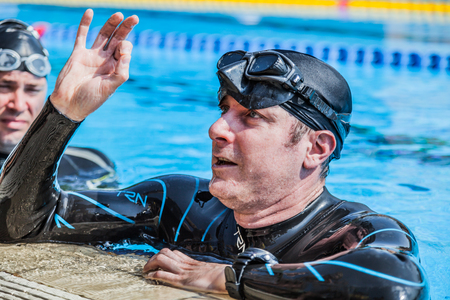 freediving: Montreal, CANADA - May 30th, 2015. Official AIDA Freediving Pool Competition Taking place in the Aquatic Complex 50m Olympic Pool at Parc Jean-Drapeau. Static Performance Official Protocol.