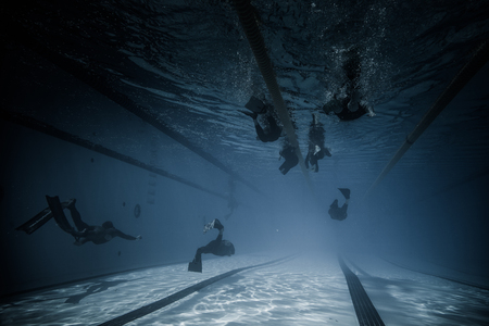 freediving: Montreal, CANADA - May 30th, 2015. Official AIDA Freediving Pool Competition Taking place in the Parc Jean-Drapeau Olympic Pool. Dynamic With Fins (DYN) Performance Wide Underwater View. Editorial