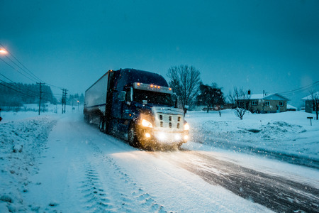 Blizzard on the Road during a Cold Winter Evening in Gaspe, Quebec, Canada