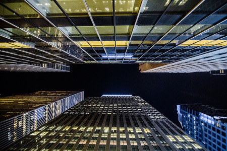 NEW YORK, USA - October 17, 2016. High Skyscrapers above near Timesquare at Night in Manhattan Editorial