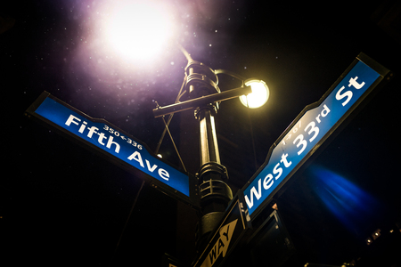 NEW YORK, USA - October 18, 2016. Light Post and Fifth Avenue Street Sign on the corner of the West 33rd Street in Manhattan, New York.