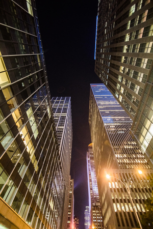 NEW YORK, USA - October 17, 2016. High Skyscrapers above near Timesquare at Night in Manhattan Stock Photo - 82301565