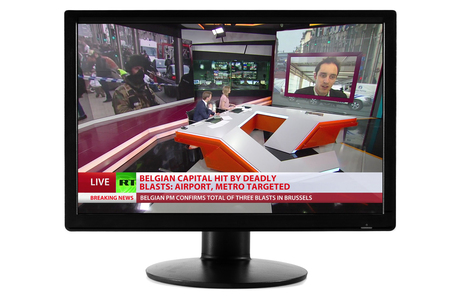 MONTREAL, CANADA - march 22, 2016: Brussels Attack News Report viewed on a Computer Screen Monitor Isolated on White Background