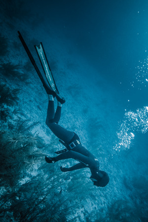 SAN ANDRES ISLAND, Colombia _ Circa March 2017. Freediving Simulation of  Blackout during a Diving Course in the Caribbean. Editorial