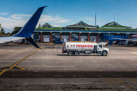 SAN ANDRES ISLAND, Colombia _ Circa March 2017. Texaco Fuel Tanker on the Airport Track of San Andres, Colombia Editorial