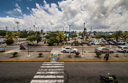 SAN ANDRES ISLAND, Colombia _ Circa March 2017. Panorama at the San Andres Airport or the outdoor Entrance during hot day of Afternoon.