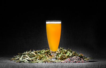 Spicy Home Hazy Brew Beer with Pepper and Labrador tea under Studio Lighting