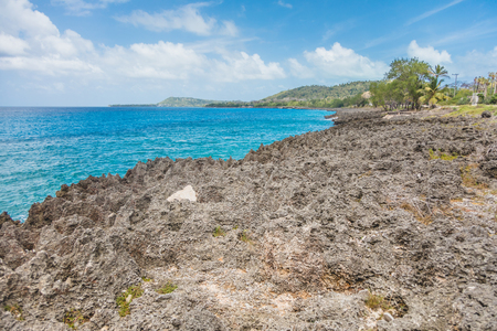 San Andres Island on the Rough Volcanic Rock Side