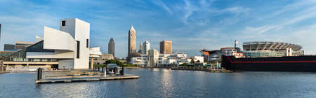 Skyline view of downtown Cleveland Ohio USA looking over the Marina by Lake Erie