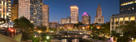 Downtown panoramic city view over the Woonasquatucket River canal in Providence Rhode Island USA Stock Photo