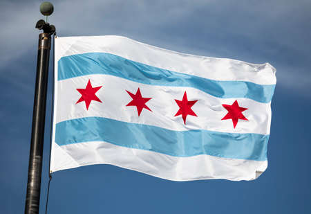 Municipal flag of the city of Chicago, Illinois USA