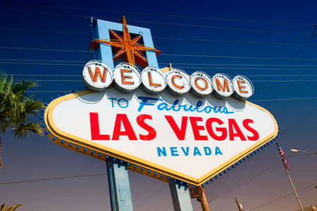 Welcome to fabulous Las Vegas greeting landmark sign in Nevada USA