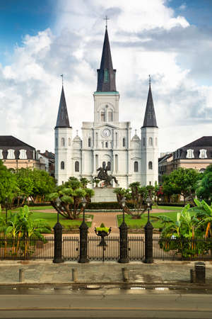 Historic St. Louis Cathedral and the statue of Andrew Jackson across Jackson Square in New Orleans Louisiana USA