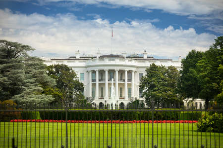 The White House at 1600 Pennsylvania Ave home of the President of the United States of America in Washington DC USA
