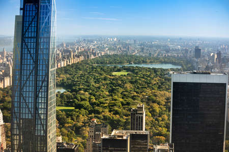 Aerial view of the buildings and skyscrapers over Central Park and the Manhattan skyline in New York City USA