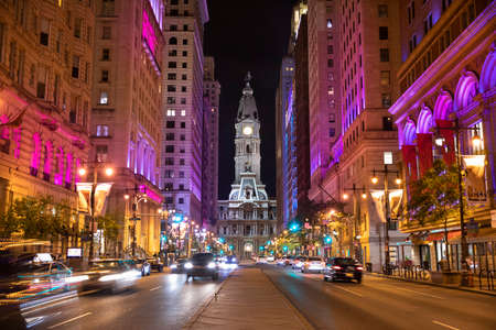 Night view on the Philadelphia city hall on Broad Street in Pennsylvania USA