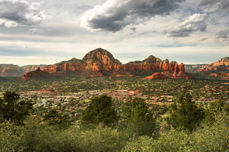 Capitol Butte and Coffee Pot Rock formation as seen from Airport Mesa over the town of Sedona Arizona USA