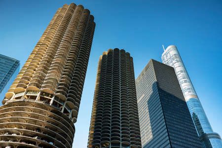 Chicago Illinois USA downtown architecture and city skyscrapers Stock Photo