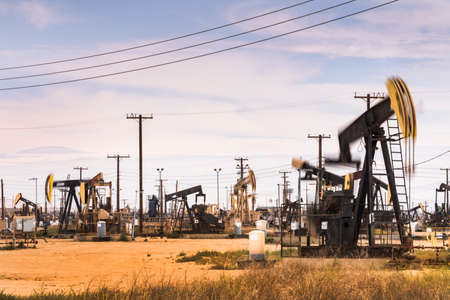 Crude oil pumps natural resources from the ground in California USA