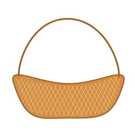 bast basket: wicker basket isolate on white background