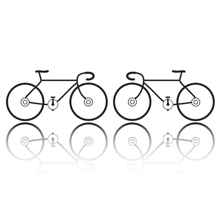 bicycle silhouettes on a white background Vector