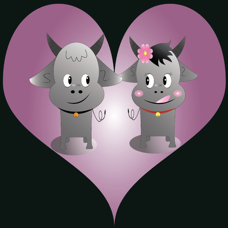 A perfect pair of buffalo with love Vector