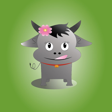 Buffalo Taddakamg on green background Illustration