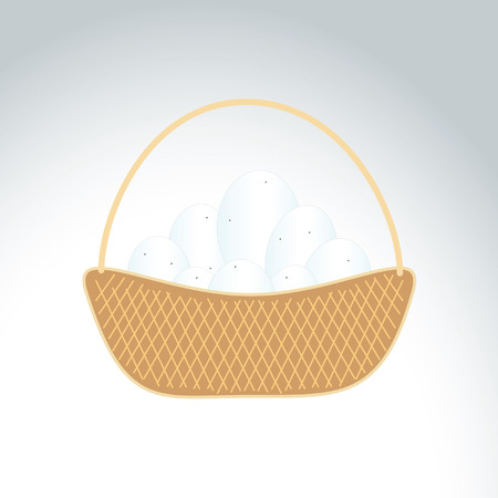 Illustration of a basket with eggs on a gray background Vector