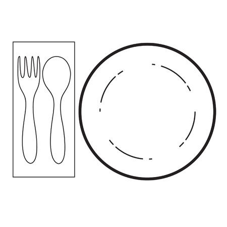 empty plate with spoon and fork on a white background