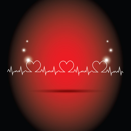 patient chart: heart beats on red background Illustration