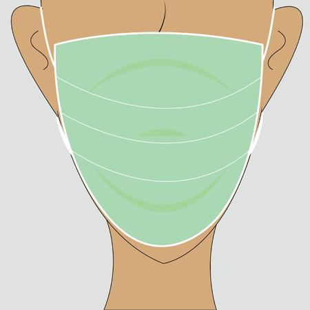 human wearing a medical mask 矢量图像