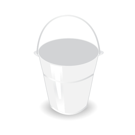metal bucket on white background Vector