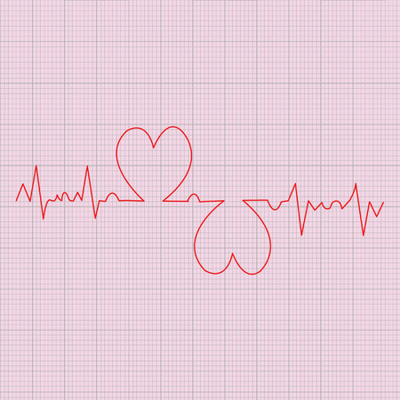 red heart beats cardiogram on pink background Vector