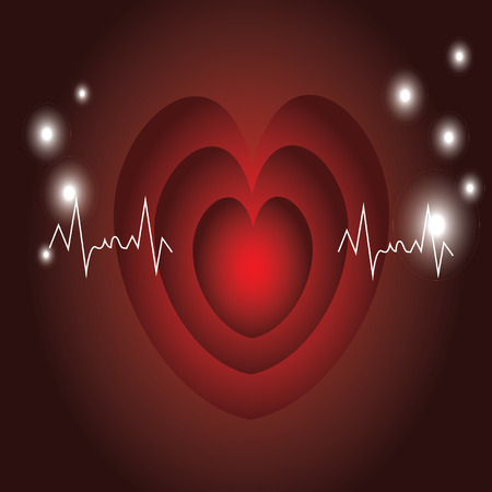red heart beats with cardiogram