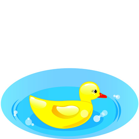 rubber duck in blue water on white background Vector