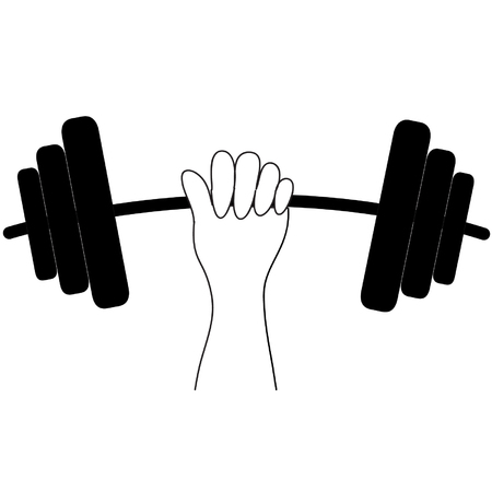 Lift the dumbbell with one hand Vector
