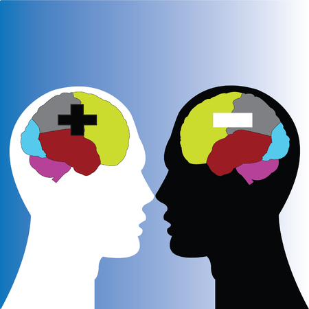 sections of human brain (positive and negative thinking) Vector