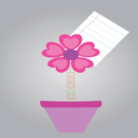 Note paper with metal paper clips flower in pots Vector