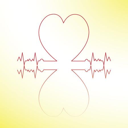 patient chart: red heart beats cardiogram.vector