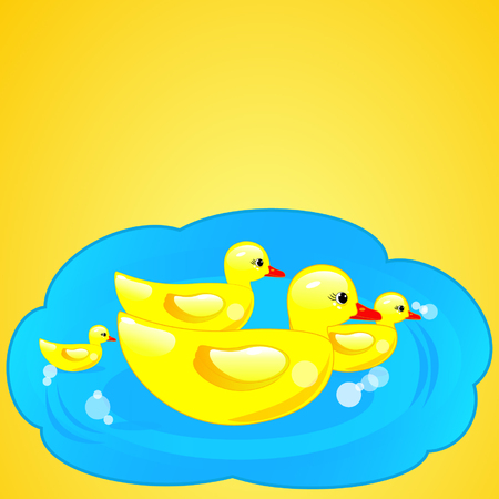 rubber duck in blue water on yellow background Vector