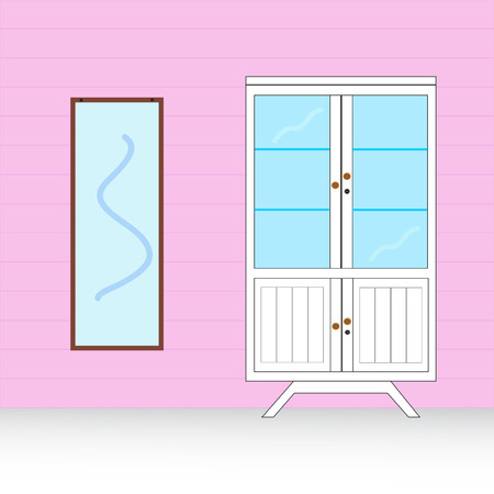 wardrobe with mirror Vector