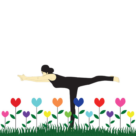 woman in pose practicing yoga Vector