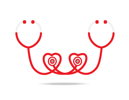 diagnostic medical tool: stethoscope icon on white background