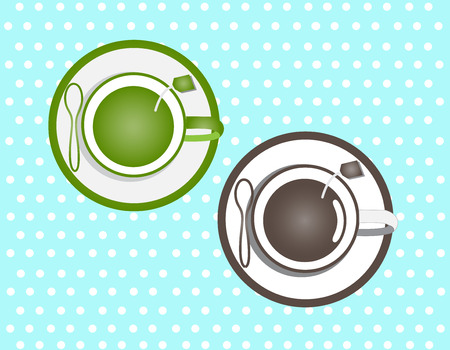 Coffee and green tea in a cup on a dot blue background Vector