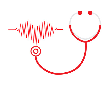 stethoscope and a heart beats on white background Vector