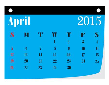 Calendar  April 2015 .  Illustration